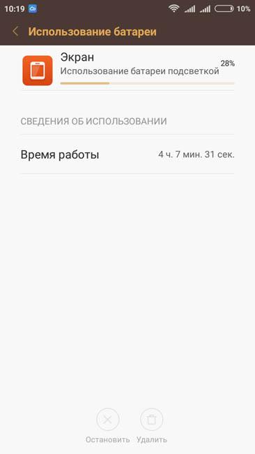 Время работы экрана Xiaomi Redmi 3S