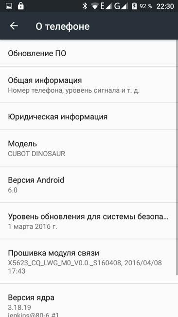 Информация о смартфоне Cubot Dinosaur