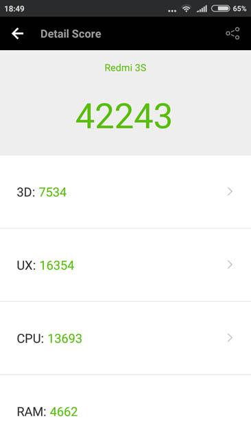 Тестирование Xiaomi Redmi 3S в AnTuTu