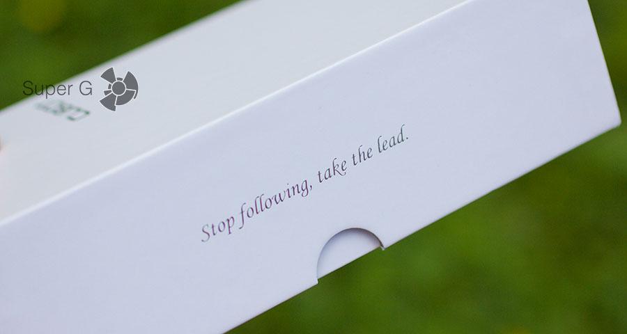 Мотивирующий слоган на коробке из-под смартфона