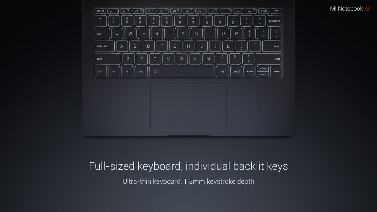 Xiaomi Mi Notebook Air клавиатура
