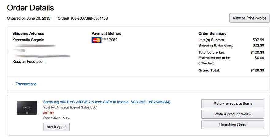 Детали заказа SSD-диска с Amazon