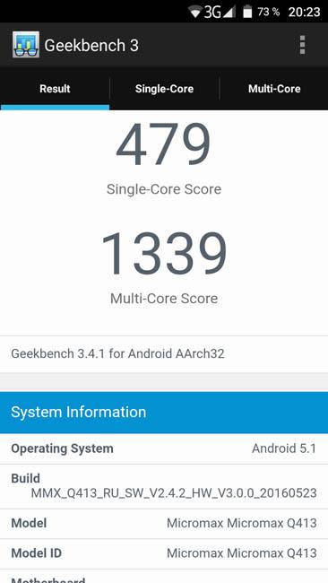 Тест производительности Micromax Canvas Xpress 4G Q413 в Geekbench 3