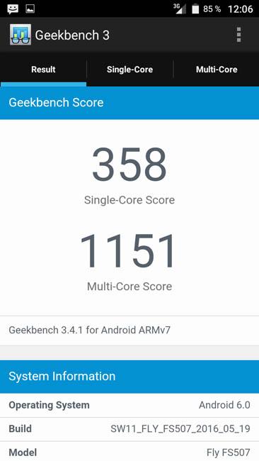 Тест Fly FS507 Cirrus 4 в Geekbench 3