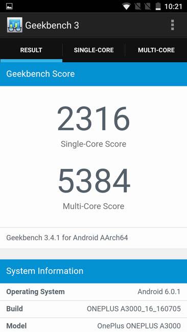 Тест OnePlus 3 в Geekbench 3