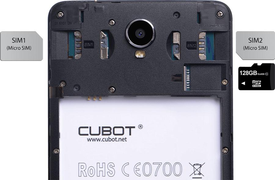 Cubot Max поддерживает установки и SIM-карт, и карты памяти