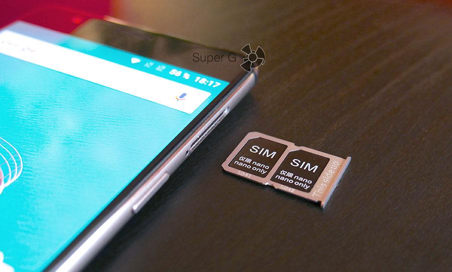 OnePlus 3 поддерживает работу двух Nano SIM-карт