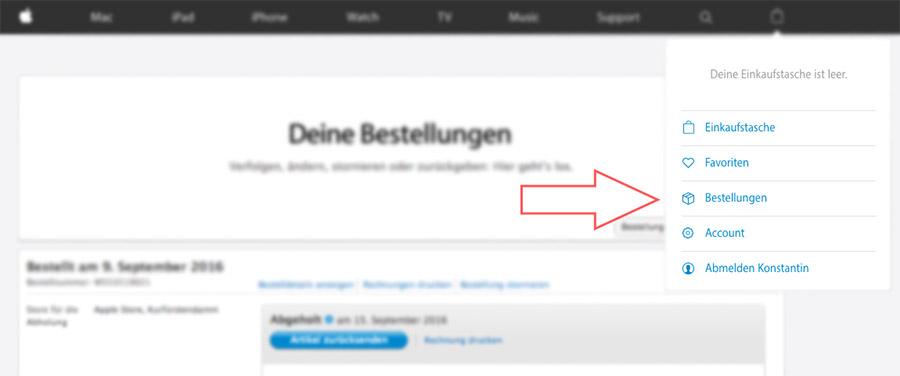 В немецком Apple Store Online нужно выбрать раздел с заказами