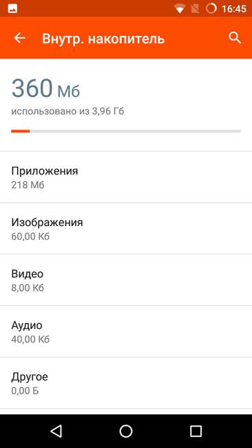 Количество свободной памяти в смартфоне Wileyfox Spark
