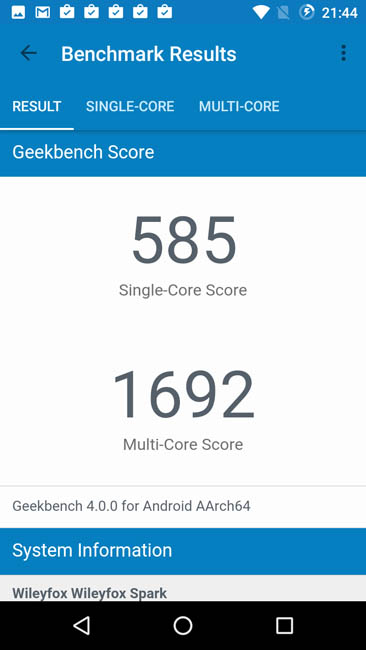 Тест Wileyfox Spark в Geekbench 4