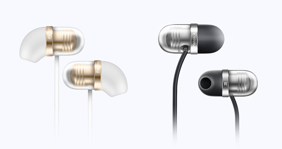 Бело-золотые и черные наушники Xiaomi Mi Capsule Earphones