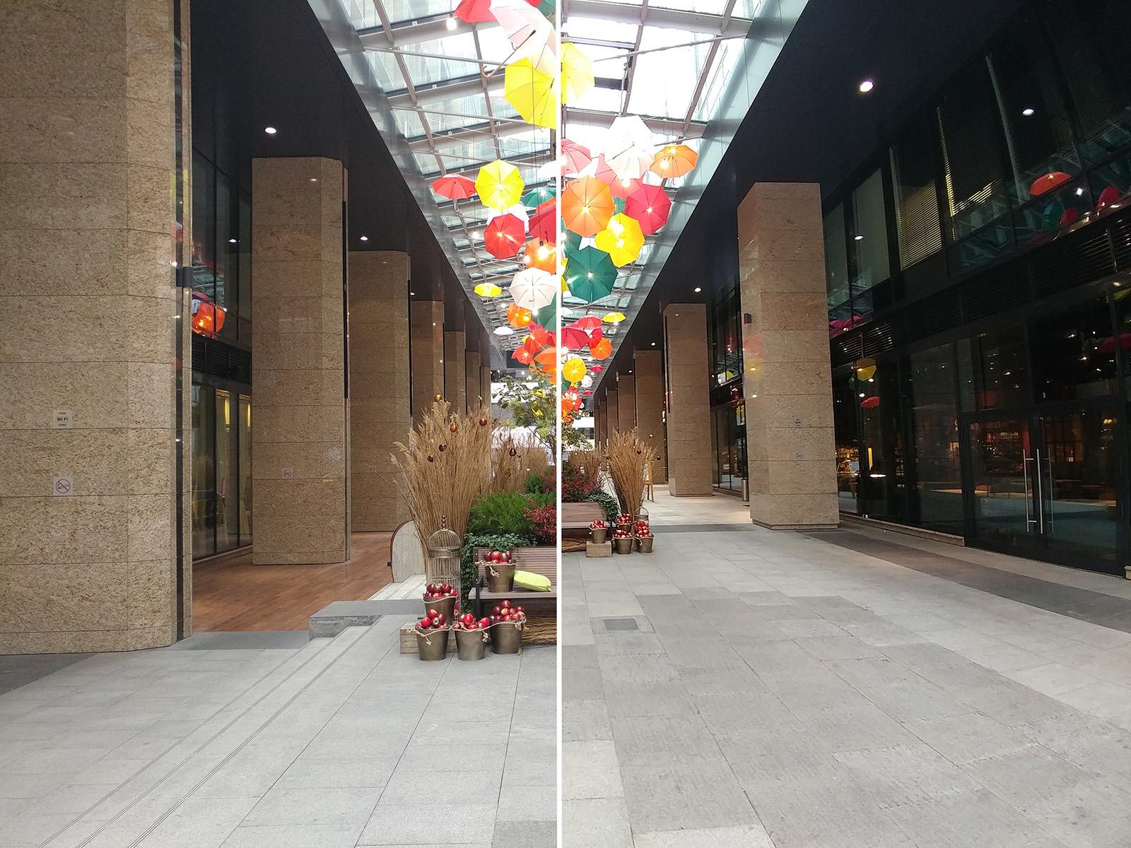 Составное фото из двух снимков (слева снято на обычную камеру, справа на широкоугольную)