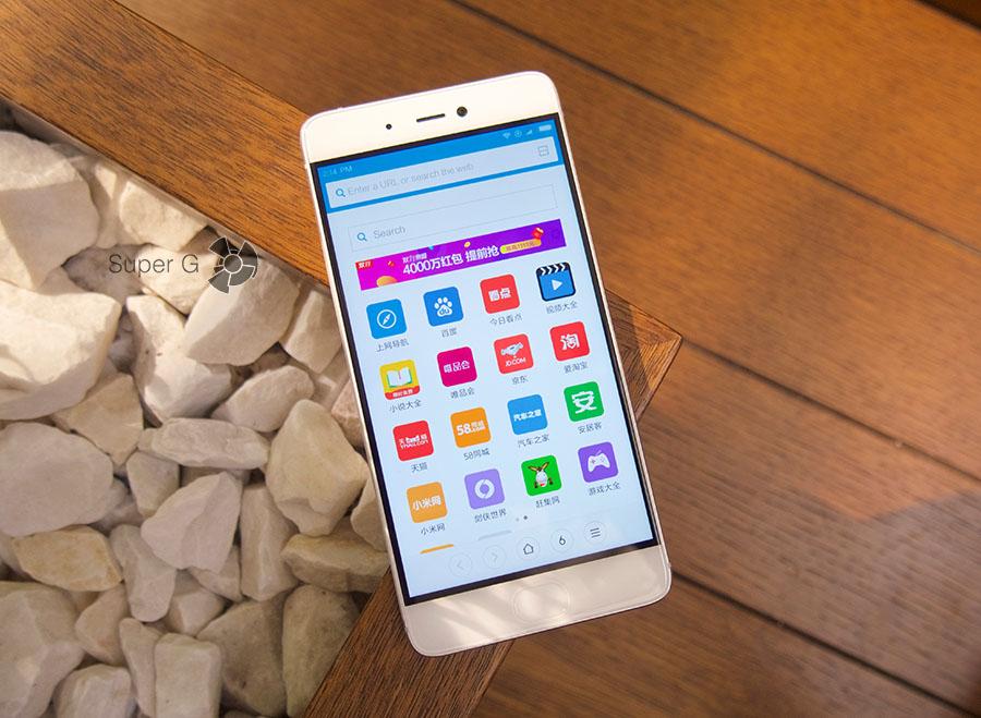 Дисплей Xiaomi Mi5S во включенном состоянии
