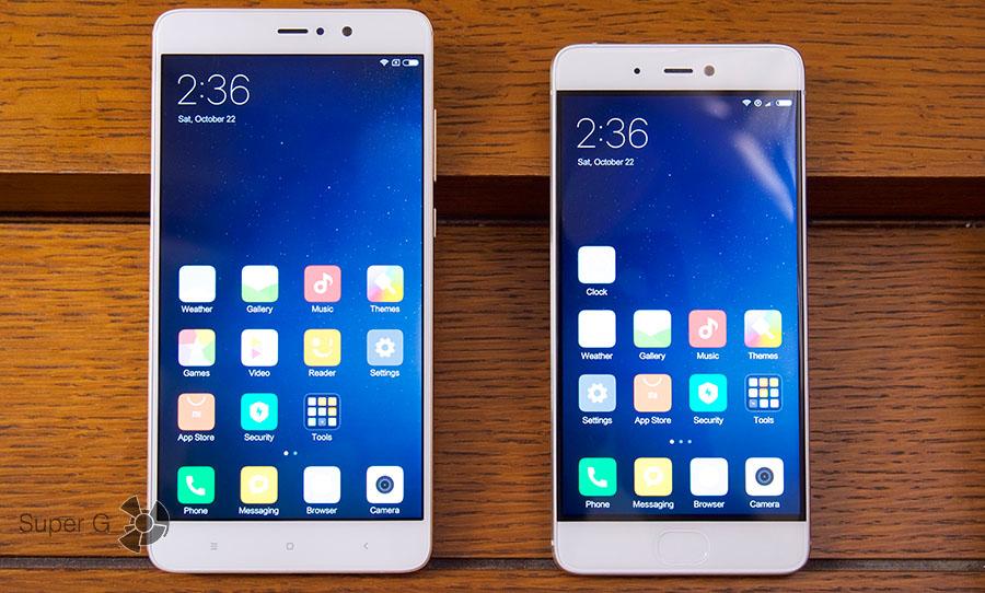 Дисплеи Xiaomi Mi5S и боковые рамки (обратите внимание на их ширину)