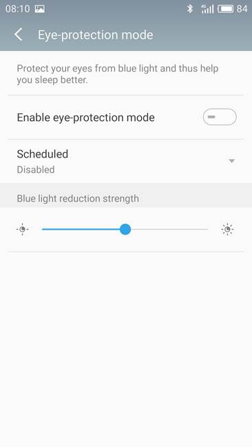 Защита глаз - настройка дисплея в YunOS