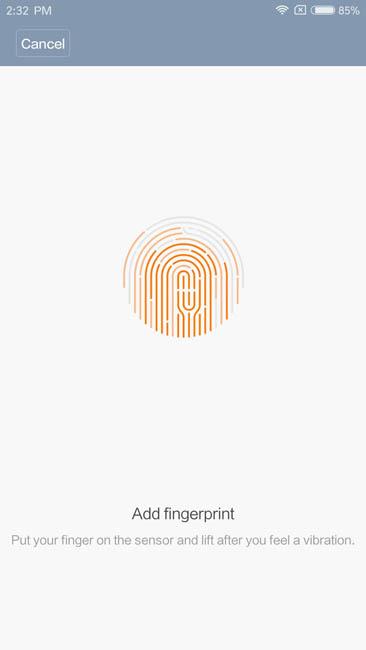 Регистрация отпечатка пальца в Xiaomi Mi5S