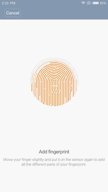 Ввод отпечатка пальца в Xiaomi Mi5S