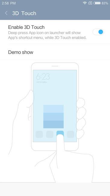3D Touch для Xiaomi Mi5S