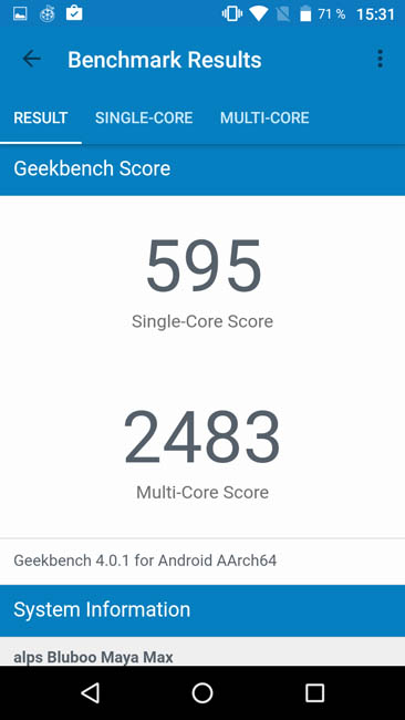 Тест производительности Bluboo Maya Max в тесте Geekbench 4