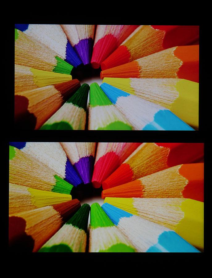 Сравнение дисплеев LeEco Le 3 (сверху) и Xiaomi Mi5S Plus (снизу)