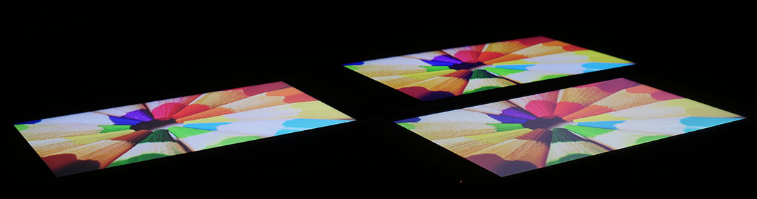 Сравнение экранов LeEco Le 3 (слева), Xiaomi Mi5S Plus (справа), Doogee F7 Pro (сверху)