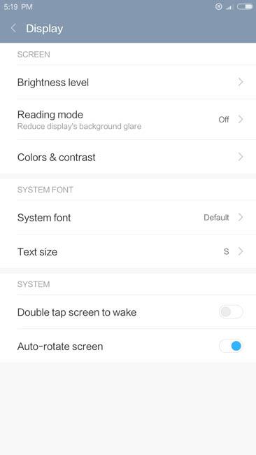 Настройки дисплея Xiaomi Mi5S Plus