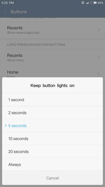 Настройка времени свечения подсветки в Xiaomi Mi5S Plus