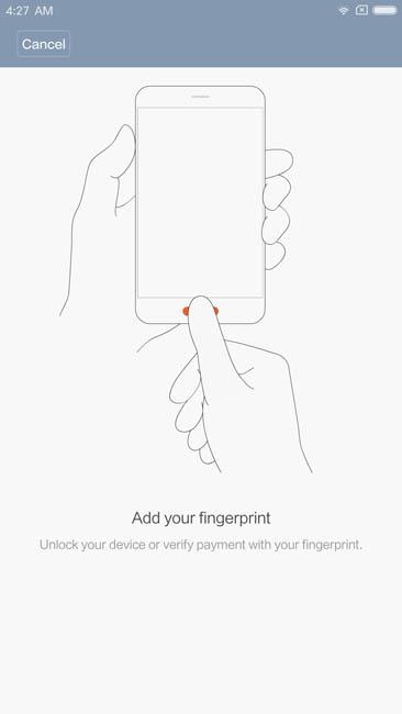 Регистрация отпечатка пальца в Xiaomi Mi Note 2