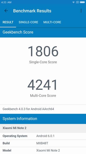Тест производительности Xiaomi Mi Note 2 в Geekbench 4
