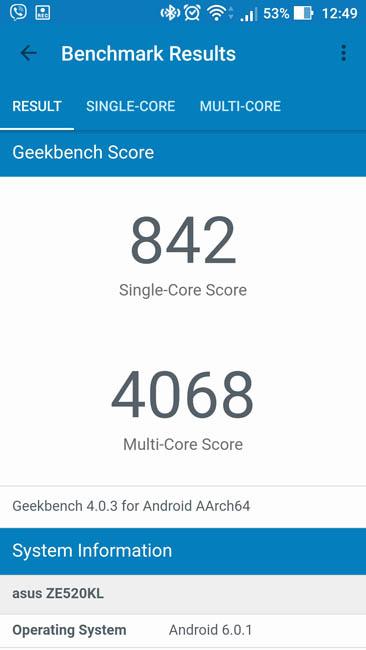 Тест производительности Asus Zenfone 3 в Geekbench 4