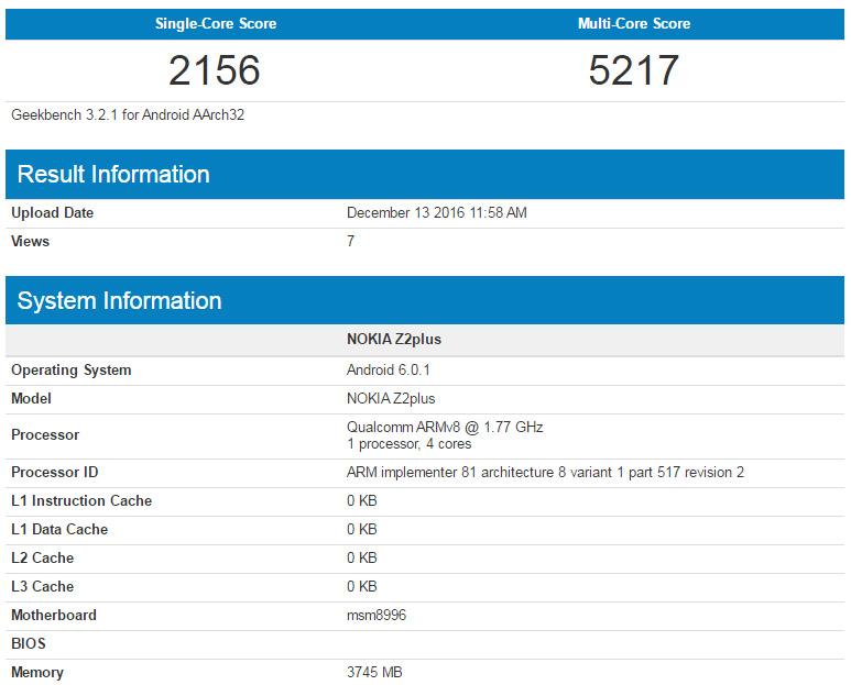 Geekbench 4 test of Nokia Z2 Plus