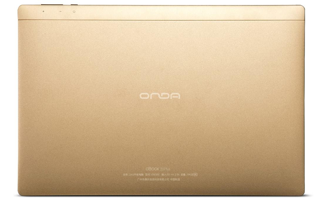 ONDA oBook 20 Plus золотой корпус с задней части планшета