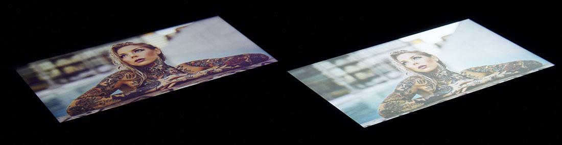 Тест экранов Cubot Manito (слева) и Xiaomi Redmi 4A (справа)