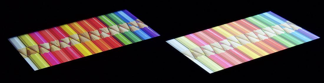 Сравнение экранов Cubot Manito (слева) и Xiaomi Redmi 4A (слева)