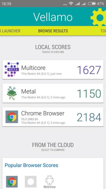 Тест Xiaomi Redmi 4A в Vellamo