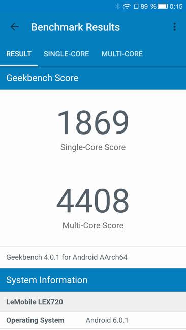 Тест производительности LeEco Le 3 Pro в Geekbench 4