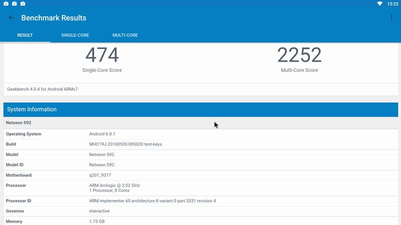 Результат GeekBench Alfawise S92