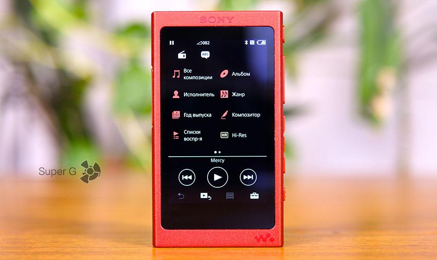 Главный экран Sony Walkman NW-A35