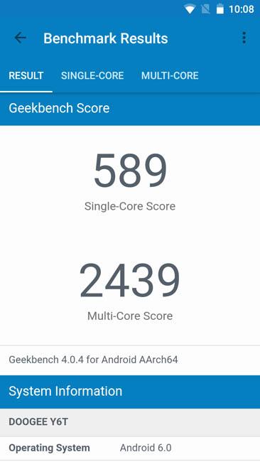 Тест производительности Dogee Y6 Piano Black в Geekbench 4