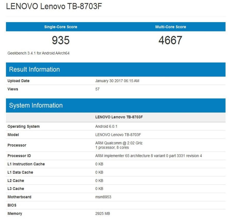 Стали известны характеристики планшета Lenovo Tab 3 8 Plus