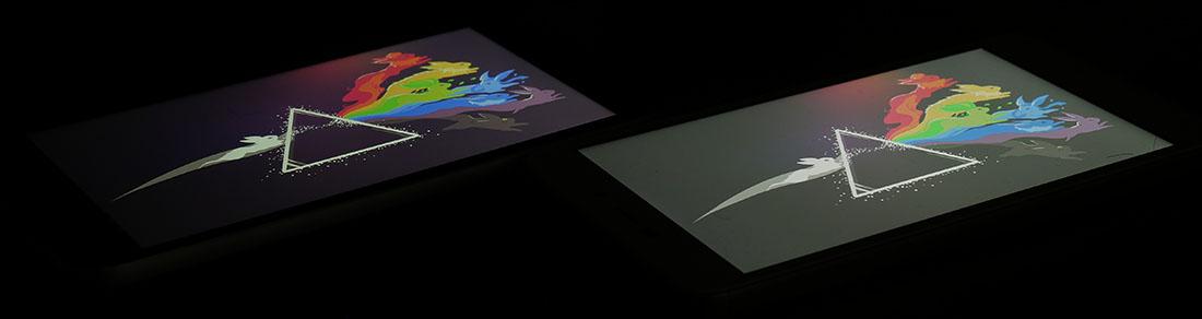 Сравнение экранов UMi Diamond (слева) и Xiaomi Redmi 4A (справа)