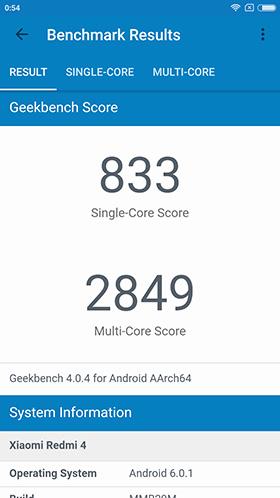 Результат в Geekbench