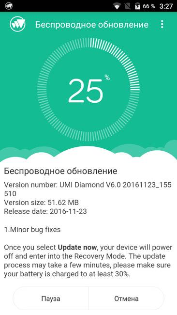 Обновление прошивки для UMi Diamond