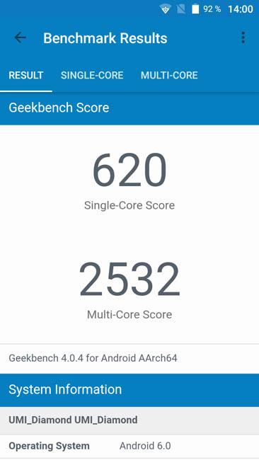 Тест производительности UMi Diamond в Geekbench 4