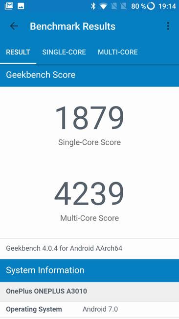 Тест производительности OnePlus 3T в Geekbench 4