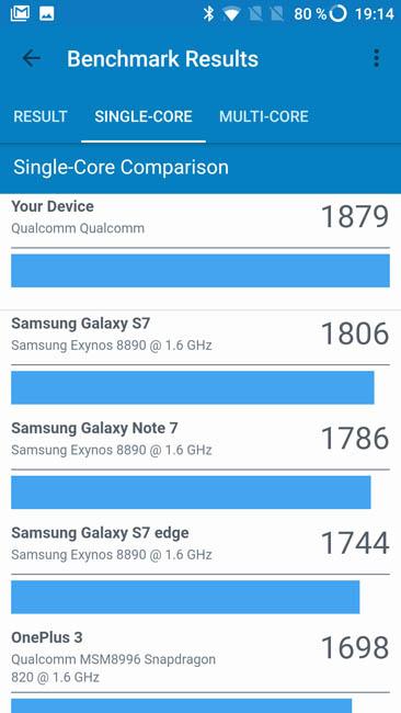 Одноядерный тест производительности OnePlus 3T в Geekbench 4
