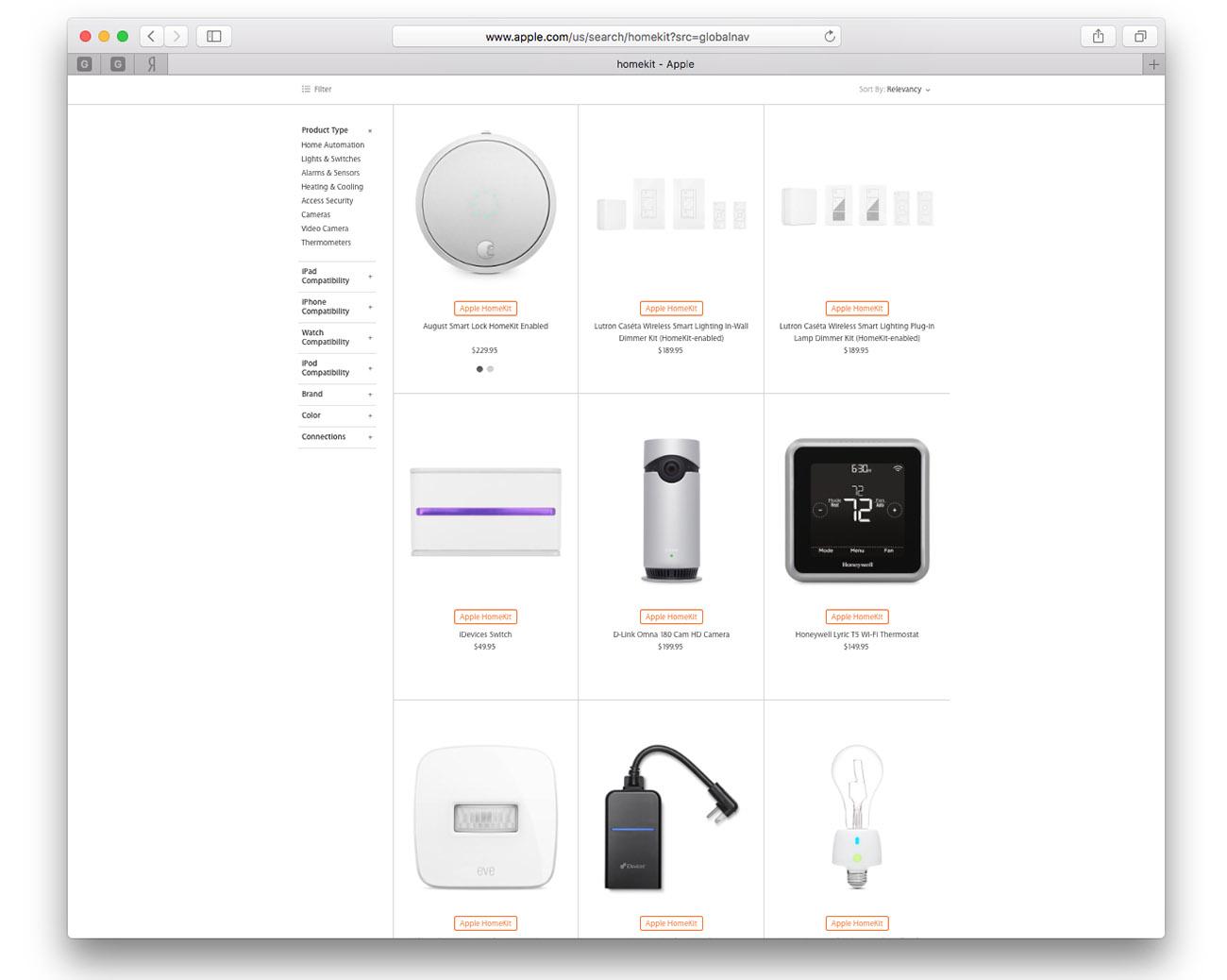Как выглядит страничка Apple Homekit на американском сайте