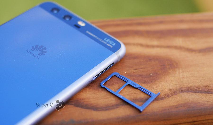 Лоток под SIM-карты в Huawei P10 совмещен с карточкой памяти