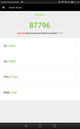 Результат в AnTuTu Huawei MediaPad M3