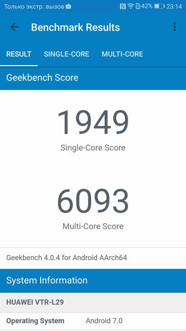 Тест производительности Huawei P10 в Geekbench 4